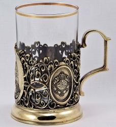 """Набор для чая с подстаканником """"Князь"""" в деревянном футляре"""