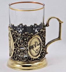 """Набор для чая с подстаканником """"Княгиня"""" в деревянном футляре"""