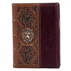 """Ежедневник """"Лев"""" темно- коричневый с бордовым, арт. А80407"""