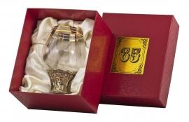 """Бокал д/бренди """"65 лет"""" (богемское стекло, бронза) в картонном футляре"""