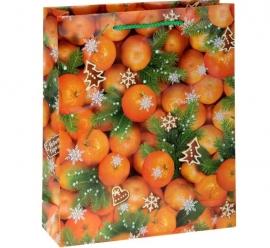 """Пакет для подарка """"Мандарины"""" 11*14 см"""