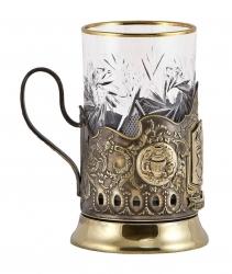 """Подстаканник """"Приятного чаепития"""" с накладками художественного литья"""