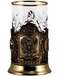 """Набор для чая """"Герб России"""" с накладками художественного литья"""