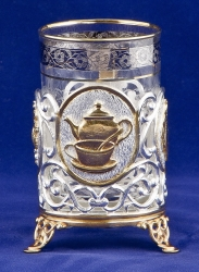 """Набор д/чая с френч-прессом """"Чаепитие"""" (латунь, комб. покрытие золото, серебро)"""