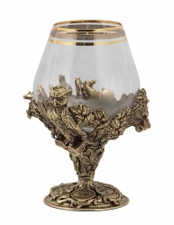 """Набор из 2-х бокалов для бренди """"Княжеский"""" (богемское стекло, бронза) в ларце"""