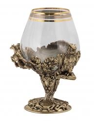 """Набор из 2-х бокалов для бренди """"Князь"""" (богемское стекло, бронза) в ларце"""
