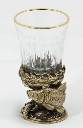 "Стопка рыбацкая ""Карп"" (стекло, латунь) 45 мл"