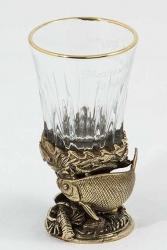 """Стопка рыбацкая """"Лещ"""" (стекло, латунь) 45 мл"""