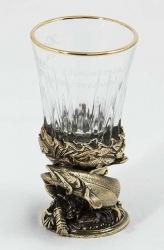 """Стопка рыбацкая """"Сом"""" (стекло, латунь) 45 мл"""