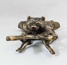 "Подставка для снятия обуви ""Денщик Медведь"" в ларце арт. ВД-31VIP Медведь"