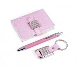 Подарочный набор: ручка, визитница, брелок  (розовый)