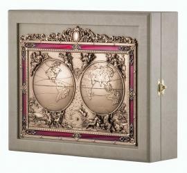 "Ключница настенная из кожи на 11 ключей ""Карта мира"""