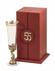 """Бокал д/шампанского """"55 лет"""" (богемское стекло, бронза) в кожаном футляре"""