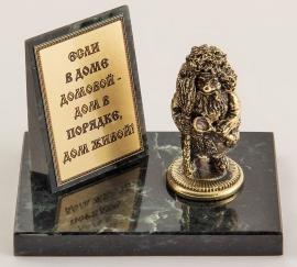 """Фигурка бронзовая на камне """"Домовой"""" (вар.1) 10*7*8 см"""