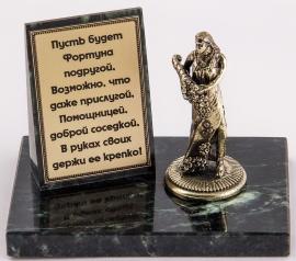"Фигурка бронзовая на камне ""Фортуна"" (вар.2) 10*7*8 см"