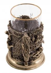 """Набор для чая """"Рыбаки"""" (бронза) в деревянном футляре"""