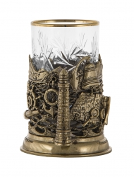 """Набор для чая """"Парусник"""" (бронза) в деревянном футляре"""