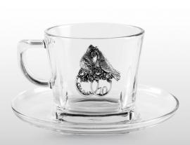 """Набор для чая с оловянными накладками """"10 лет свадьбы"""""""