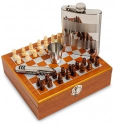 """Подарочный набор """"Шахматы"""": фляжка 220 мл, стопка, нож мультитул от 1 750 руб"""