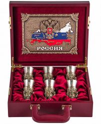 """Подарочный набор из 6-ти чарок """"Гусарский"""" в кейсе арт. ПНЧГЛ-812"""