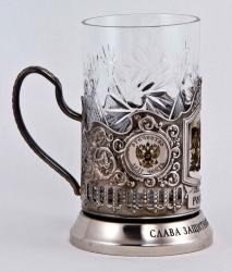 """Набор для чая """"Слава защитникам Отечества!"""" в деревянном футляре"""