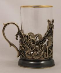 """Набор для чая """"Георгий Победоносец"""" (точное литье) в деревянном футляре"""