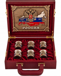 """Подарочный набор из 6-ти стопок """"Державный"""" в кейсе арт. ПНД-85Герб"""