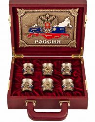"""Подарочный набор из 6-ти стопок с гравировкой """"Державный"""" в кейсе арт.ПНД-85"""
