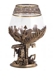 "Бокал д/бренди ""Строители"" (богемское стекло-отделка Флорис, бронза) в картонном футляре"