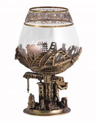 """Бокал д/бренди """"Строители"""" (богемское стекло-отделка Флорис, бронза) в кожаном футляре"""