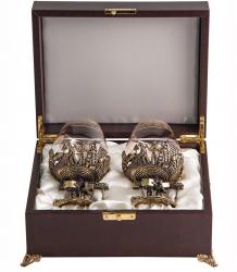 """Набор из 2-х бокалов для бренди """"Строители"""" (богемское стекло-отделка Флорис, бронза) в ларце"""
