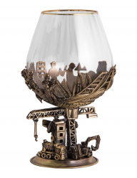 "Набор из 2-х бокалов для бренди ""Строители"" (богемское стекло-отделка Оптика, бронза) в ларце"