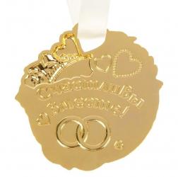 """Медаль свадебная на открытке """"1 год вместе. Ситцевая свадьба"""""""