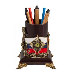 """Подставка для письменных принадлежностей """"Георгий"""" (кожа, бронза)"""