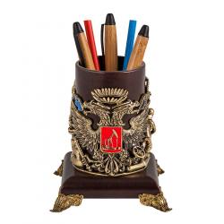 """Подставка для письменных принадлежностей """"Газ-Нефть"""" (кожа, бронза)"""