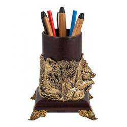 """Подставка для письменных принадлежностей """"Медведь"""" (кожа, бронза)"""