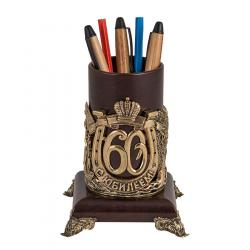 """Подставка для письменных принадлежностей """"60 лет"""" (кожа, бронза)"""