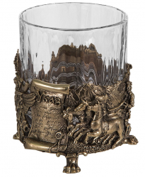 "Набор из 3-х бокалов для виски ""Лев"" (хрусталь, бронза) 280 мл"