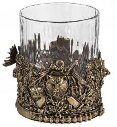 """Бокал для виски """"Охота"""" (хрусталь, бронза) 280 мл"""