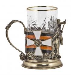 """Набор для чая """"Георгий Победоносец"""" (бронза) в деревянном футляре"""