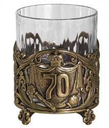 """Бокал для виски """"Юбилейный. 70 лет"""" (хрусталь, бронза) 280 мл"""