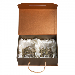 "Набор из 2-х бокалов для виски ""Богатыри"" (хрусталь, бронза) 280 мл"