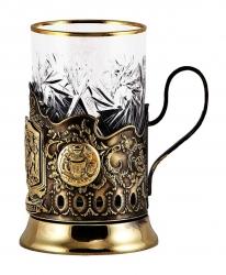 """Набор для чая """"Тройка"""" с накладками художественного литья"""