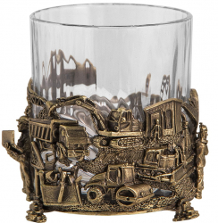 "Набор из 2-х бокалов для виски ""Строители"" (хрусталь, бронза) 280 мл"