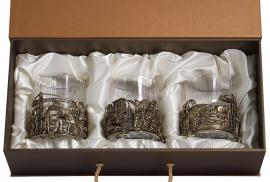 "Набор из 3-х бокалов для виски ""Строители"" (хрусталь, бронза) 280 мл"