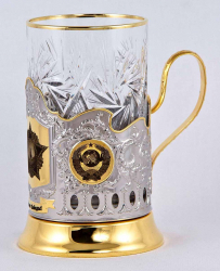 """Набор для чая """"С Днем Победы!"""" с позолотой в деревянном футляре"""