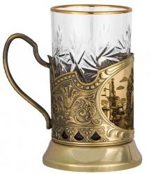 """Набор для чая """"Нефтяники"""" в деревянном футляре"""