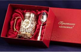 """Чайный набор с подстаканником """"Чай. Лимон"""" (латунь с серебряным и золотым покрытием)"""