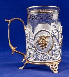 """Чайный набор с подстаканником """"Чай. Малина"""" (латунь с серебряным и золотым покрытием)"""