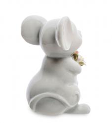 """Статуэтка фарфоровая """"Мышка с букетом"""" 8,5 см"""